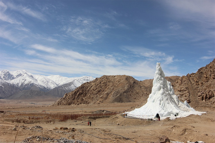 Students' Educational and Cultural Movement of Ladakh - SECMOL (Sonam Wangchuk), Ice Stupa. 2013-14. Photo: Lobzang Dadul. Courtesy SECMOL.