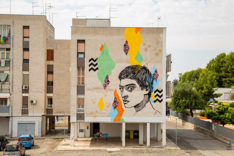 Alice Pasquini e Uno, quartiere Paolo VI. Foto © T.R.U.st