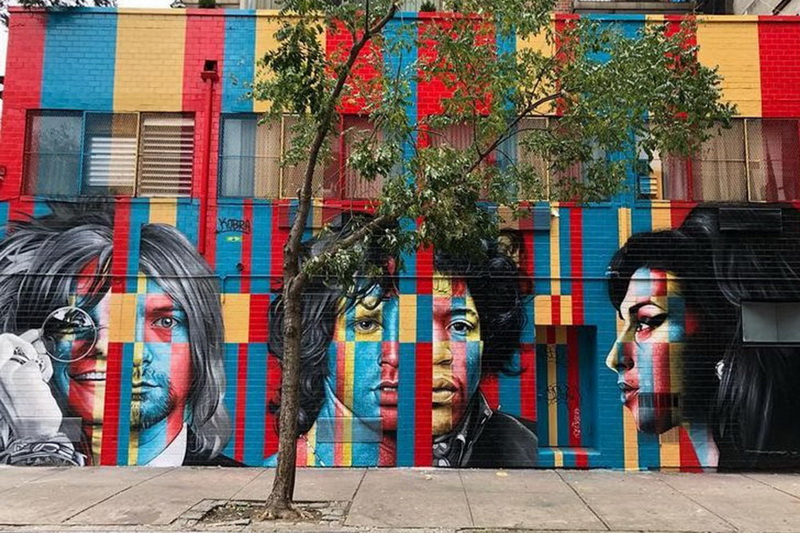 """""""The 27 Club"""" di Eduardo Kobra (46 Rivington St, Manhattan)"""