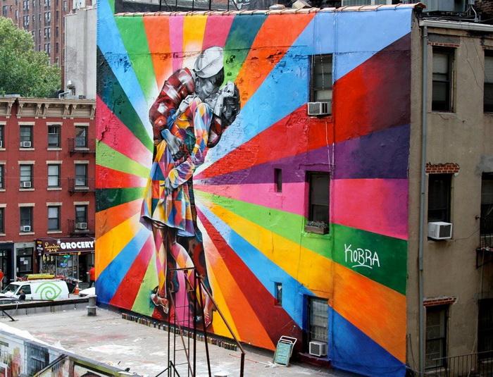 """""""V-J Day in Times Square"""" di Edoardo Kobra (High Line, Chelsea)"""